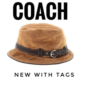 COACH Soho Tan Suede Leather Bucket Hat New W/Tags